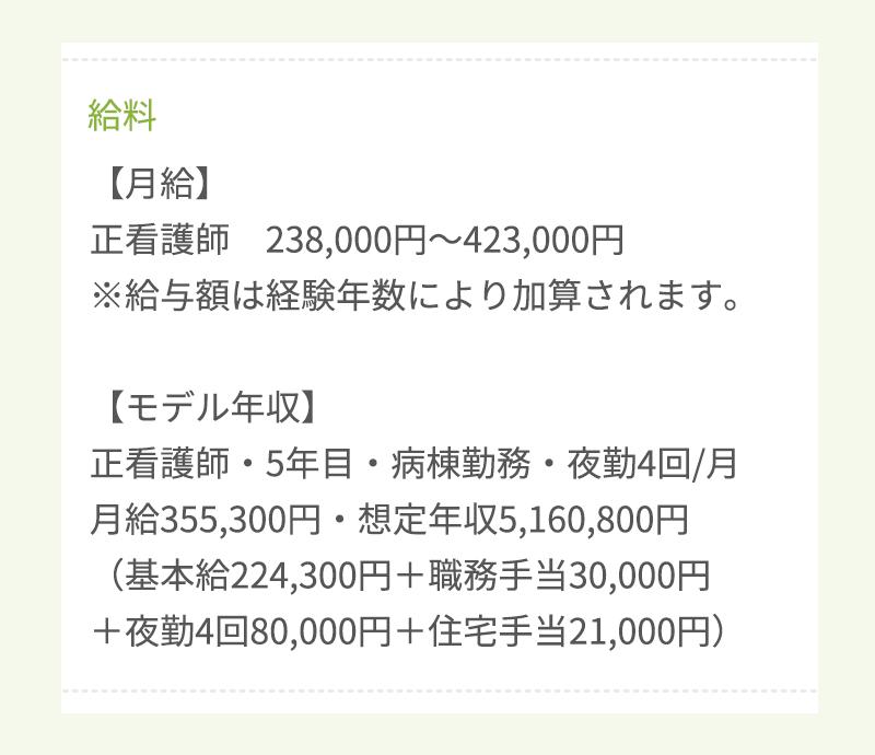 看護師の求人票の給料欄の画像