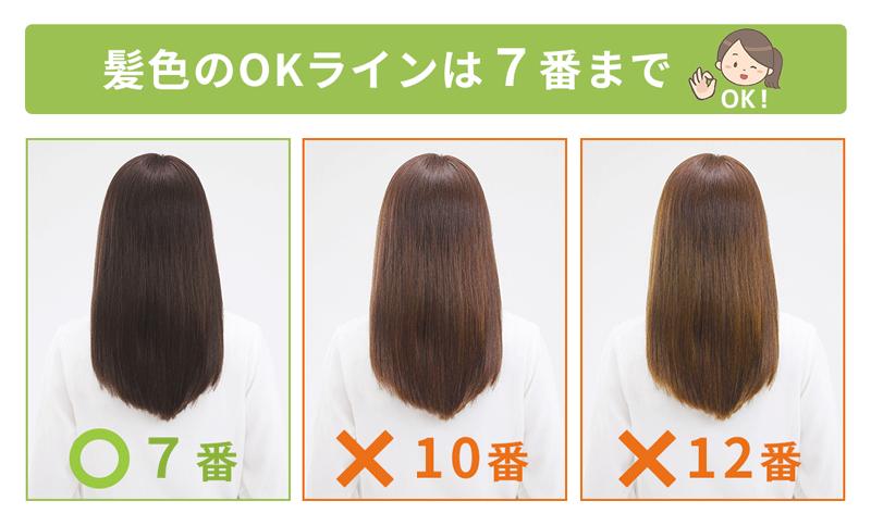 髪色OKラインを表した画像。OKラインは7番まで。