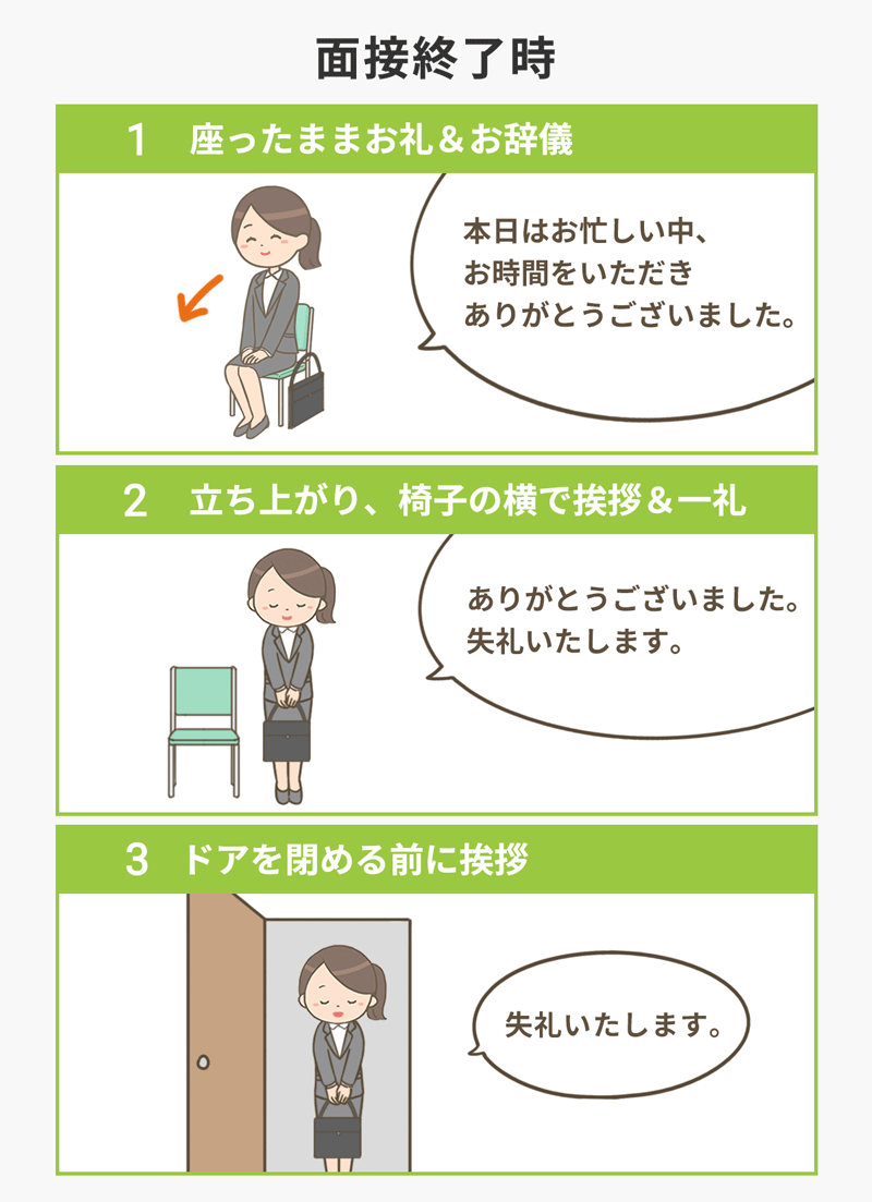 面接終了時の作法 (1)立ったままお礼・お辞儀 (2)立ち上がり、椅子の横であいさつ・一例 (3)ドアを閉める前に挨拶