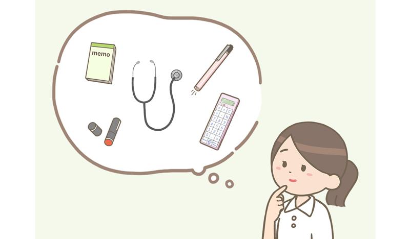 入職に備え、要するグッズを考える看護師のイラスト。 メモや筆記用具、聴診器、電卓、ペンライトなどを用意します。