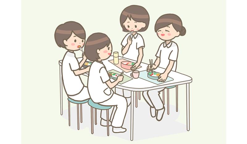ランチタイムに、お弁当を食べる看護師のイラスト
