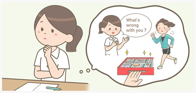 いろいろな特技を想像している看護師のイラスト