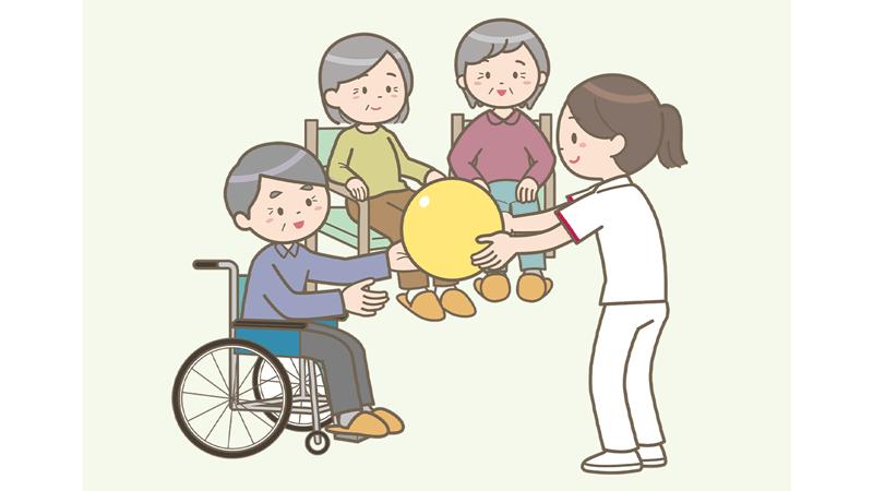 入居者さんとレクリエーションをしている看護師のイラスト