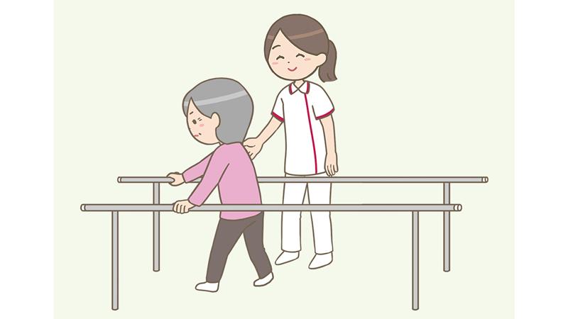 平行棒でリハビリをしている高齢者と看護師のイラスト