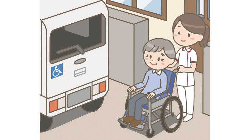 介護タクシーで通院をする高齢者を介助する看護師のイラスト