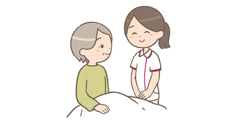 介護施設で働く看護師と利用者さんのイラスト