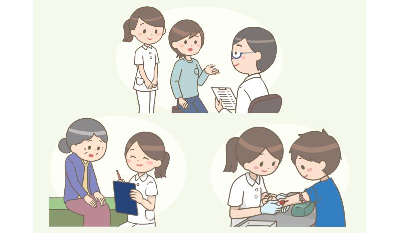 外来で働く看護師の様々なシーンのイラスト。受診室で患者さんの後ろに立っている様子や、待合室でヒアリングする様子、採血をしている様子。