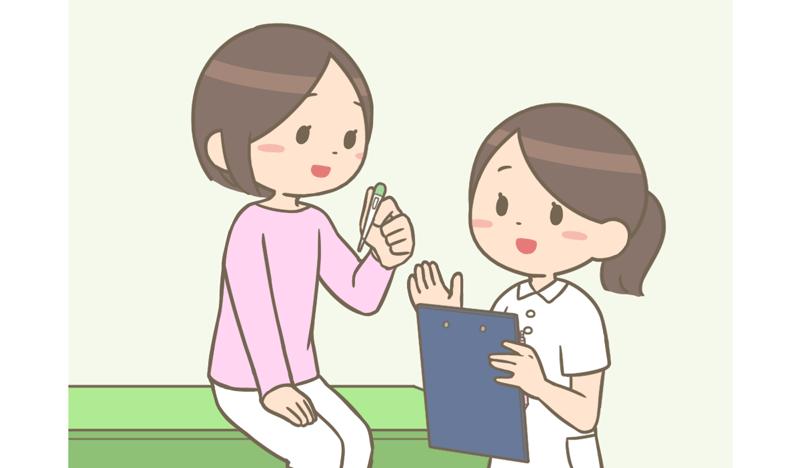待合室で座っている看護師さんから体温計を受け取っている看護師のイラスト