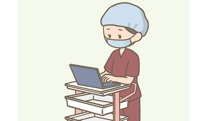 手術中の外回り看護師のイラスト