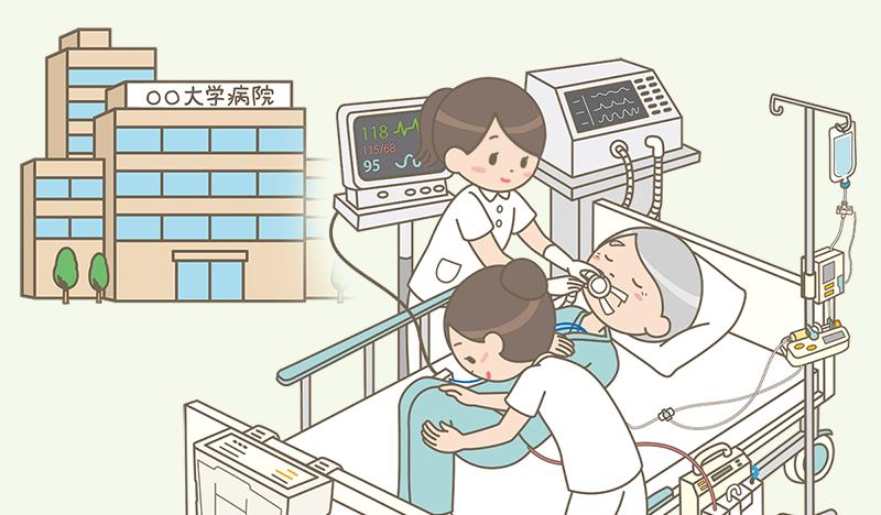大学病院で働く看護師のイラスト
