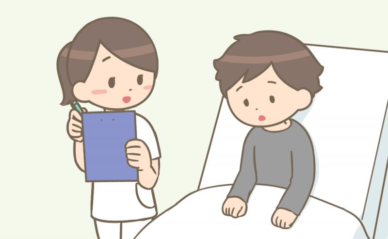 精神科に入院している患者さんと看護師のイラスト