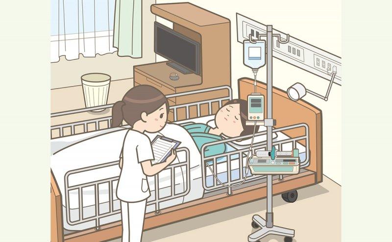 入院患者のバイタルサインの測定やアセスメントをする病棟看護師のイラスト。ラウンド中。