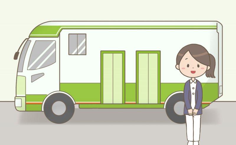健診車と健診センターの看護師のイラスト
