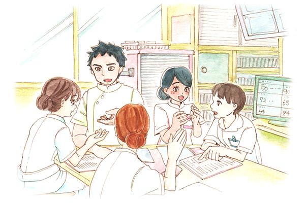日本人看護師3人が、ナースセンターでEPA外国人看護師のホセとマリアに英語を教えてもらっている様子。