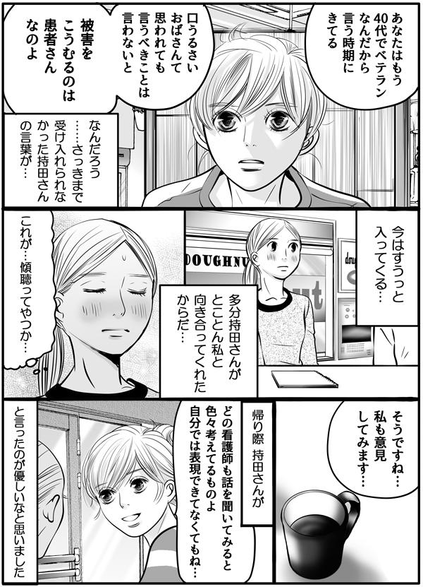 持田さんは、「あなたはもう40代でベテランなんだから、言う時期にきてる。口うるさいおばさんて思われても、言うべきことは言わないと。被害をこうむるのは患者さんなのよ。」と言いました。私は、『さっきまで受け入れられなかった持田さんの言葉が、今はすうっと入ってくる感覚に、多分持田さんがとことん私と向き合ってくれたからだ…。これが、傾聴ってやつか…。』と少し恥を感じながら、「私も意見してみます…。」答えて、その日の打ち合わせを終えたのでした。帰り際、持田さんが「どの看護師も色々考えているものよ。自分では表現できてなくてもね。」と優しい言葉をかけてくれました。