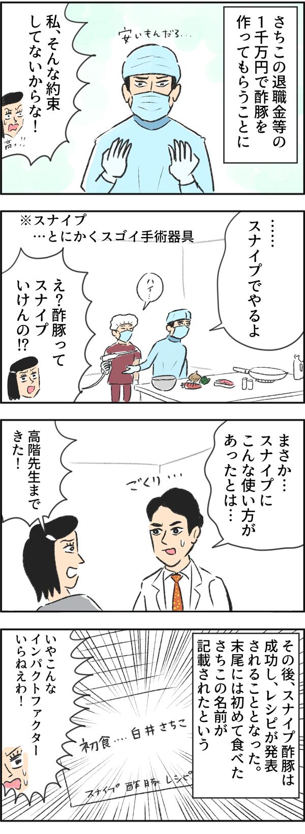 さちこの退職金等の1千万円で酢豚を作ってもらうことに。さちこはそんな約束していないとツッコミました。渡海先生が「スナイプでやるよ。」ととにかくスゴイ手術器具を使い始めると、「まさか…スナイプにこんな使い方があったとは…」と高階先生まで来て、見守ります。その後、スナイプ酢豚は成功し、レシピが発表されることとなりました。末尾には初めて食べたさちこの名前が記載されたという…。「いや、こんなインパクトファクターいらねえわ!」とツッコミをいれるさちこなのでした。
