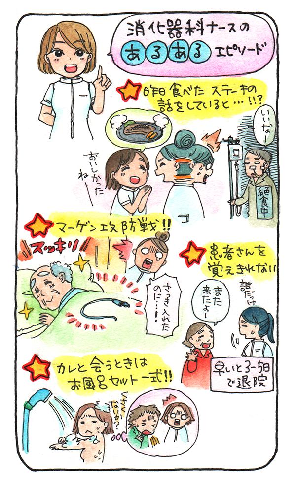 消化器科ナースのあるあるエピソードをまとめたイラスト。1:昨日食べたステーキの話をしていると…!!? 2:マーゲン攻防戦! 3:患者さんを覚えきれない 4:カレと会う時はお風呂セット一式を用意する!