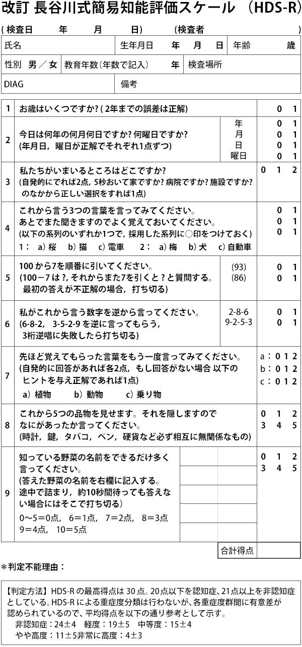 改訂 長谷川式簡易知能評価スケール(HDS-R)の問診票