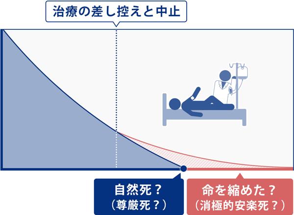 対談内容を基に、治療の差し控えと中止したあとの、自然死と消極的安楽死の境界線を説明する図。