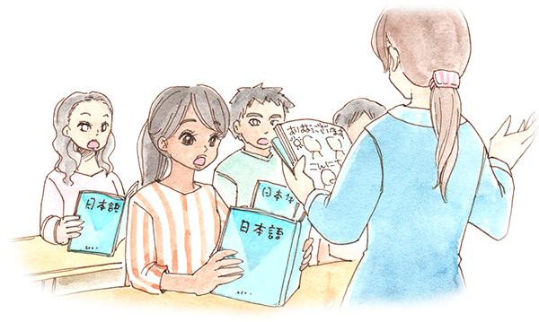 EPA外国人看護師が、日本語を勉強している様子を表現したイラスト