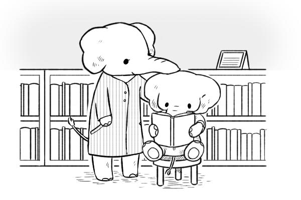 挿絵イラスト。親子のゾウが本を読んでいる