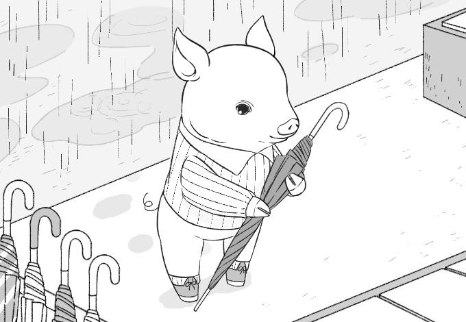 挿絵イラスト。雨の本屋の店先で傘をたたむブタさん