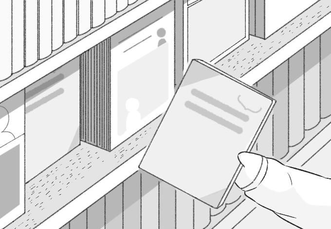挿絵イラスト②。本棚から1冊手に取るブタさん