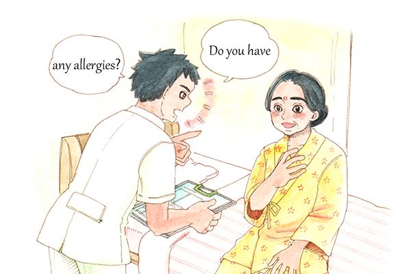 EPA外国人看護師に「Do you have any allergies?」と、アーシャさんにアレルギーの有無を確認しているホセ。