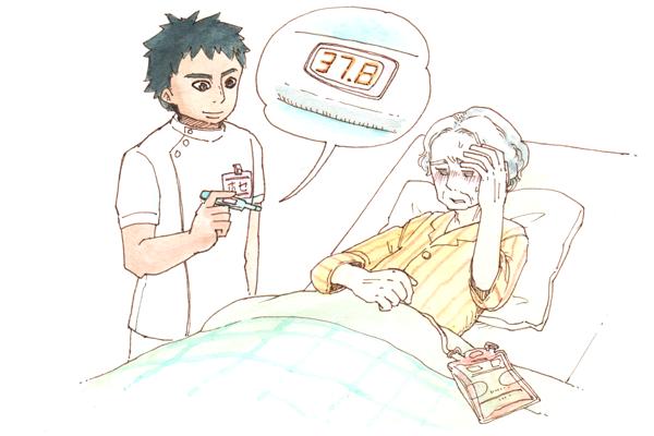 EPA看護師ホセが患者さんの体温を測っています。患者さんは具合が悪そうで、体温計も37.8℃を示していますが、ホセは笑顔でこの体温計を見ています。