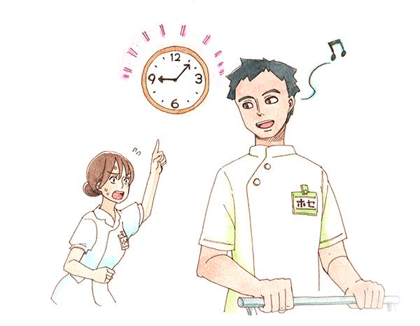 時間を守るがなかなかできないEPA外国人看護師のホセに対して、時計を指差しながら焦った素振りを見せる日本人看護師のイラスト