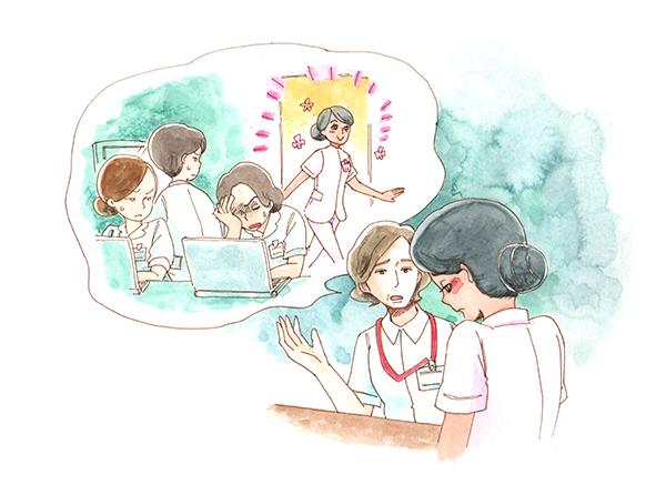 始業ぎりぎりにくるEPA外国人看護師のマリアに対して、前残業ができないか師長と話し合いを行うマリアのイラスト