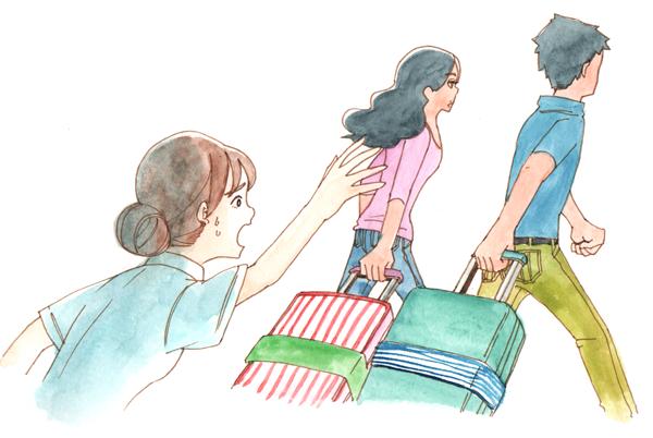 キャリーケースを帰ろうとするマリアとホセと止めようと困惑する看護師小林さんのイラスト