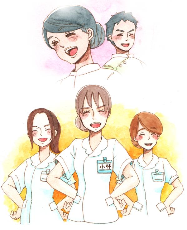 仕事にやりがいを感じているような笑顔の外国人看護師、マリア、ホセと笑顔で堂々としている日本人看護師たちのイラスト