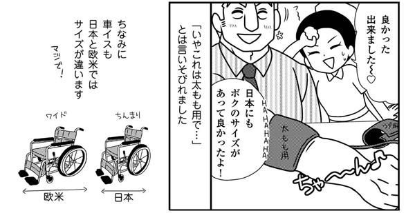 無事計ることができました。車イスも日本と欧米ではサイズが違います。