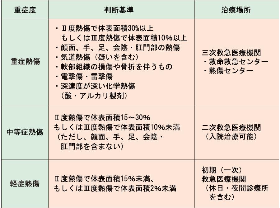 Artzの基準_熱傷の重症度