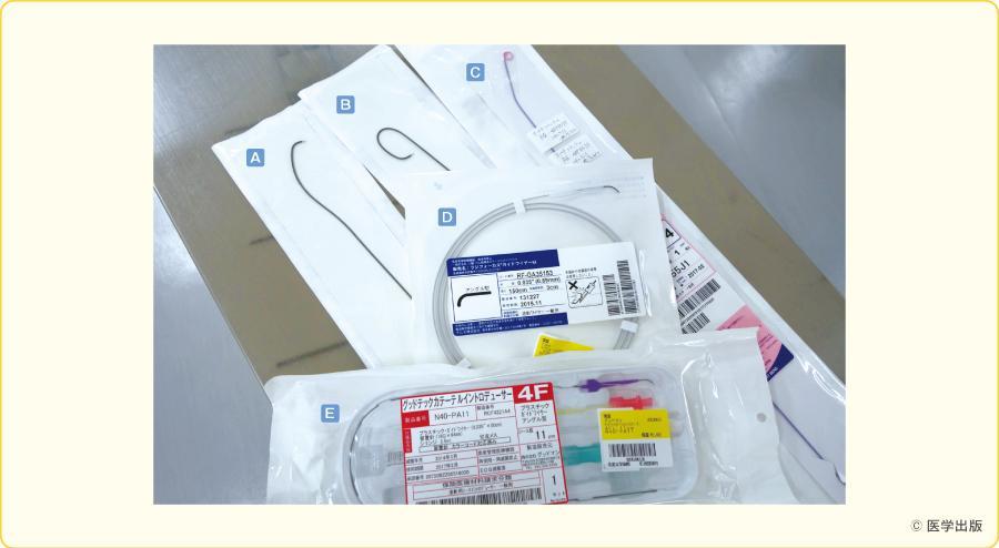 一般的な心臓カテーテル検査に用いられる道具