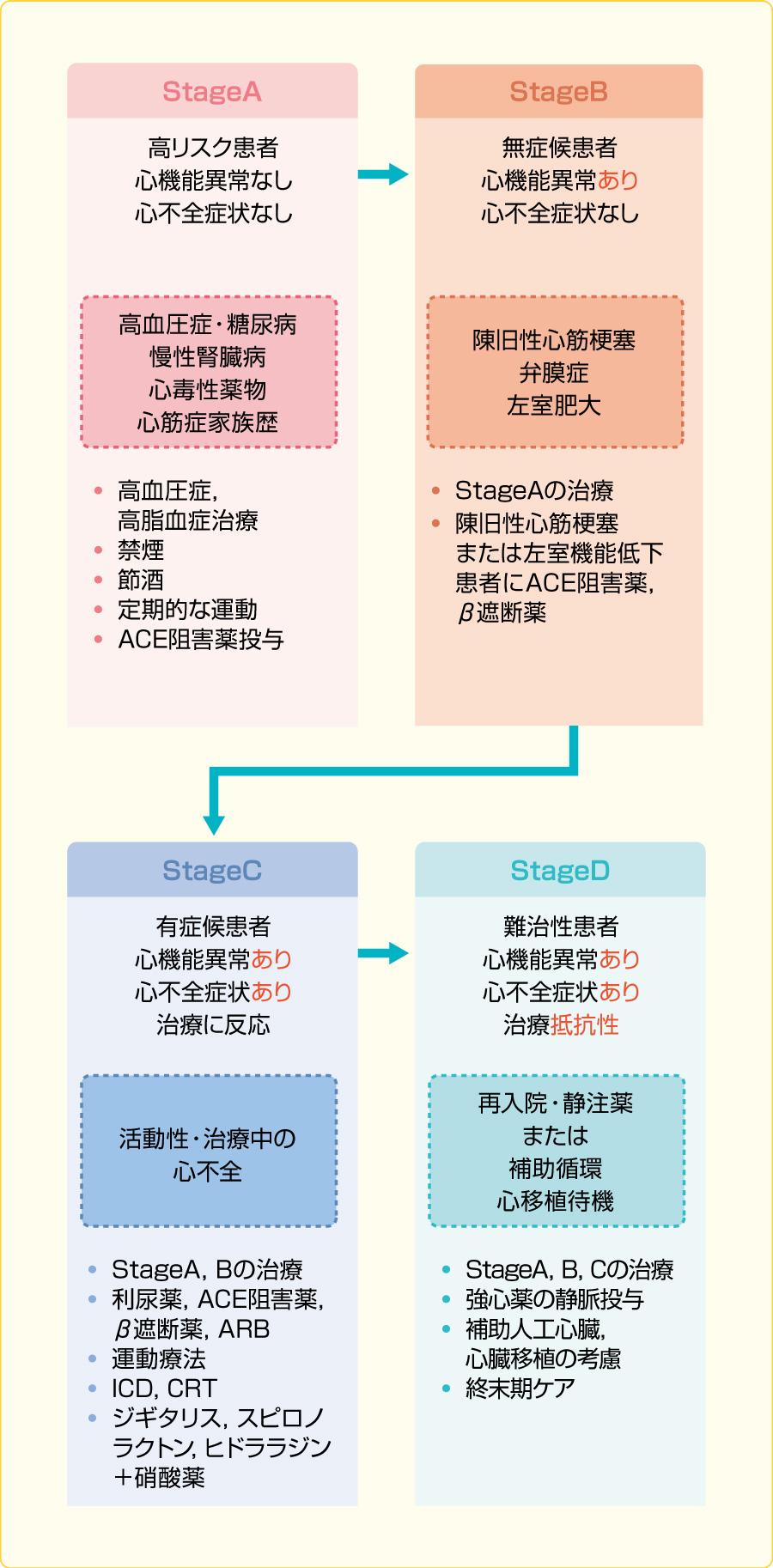 AHA/ACC心不全ステージ分類と治療(文献2より引用)