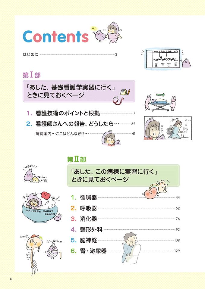 書籍『ズボラな看護学生の看護実習本 ずぼかん』目次①のイラスト
