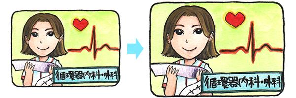 循環器内科・外科から循環器内科・外科へのキャリアプランを表すイラスト。