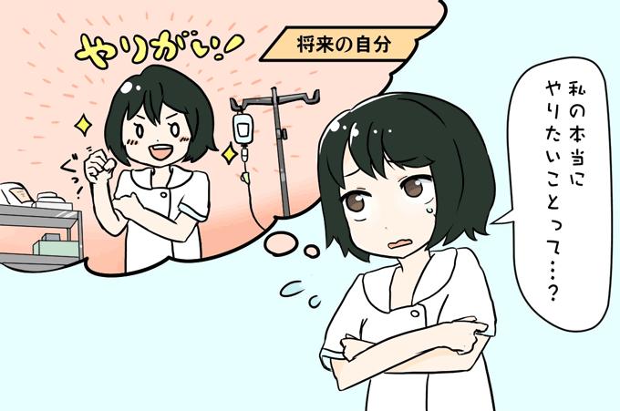 やりたいことがわからずモヤモヤする看護師のイラスト