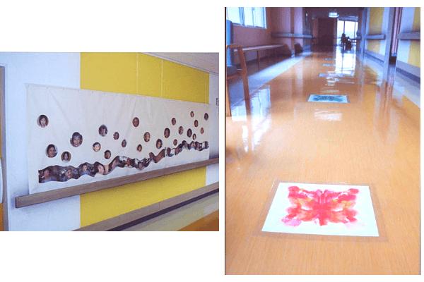 アートで飾られた認知症棟の壁や床の写真