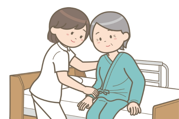 看護師と高齢患者のイラスト