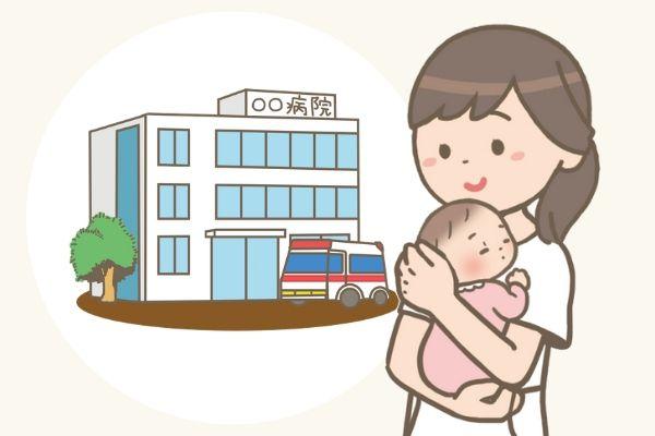 赤ちゃんを抱っこしたママナースのイラスト