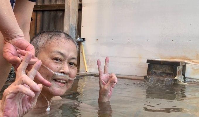 「かなえるナース」を利用して温泉に来た依頼者の写真