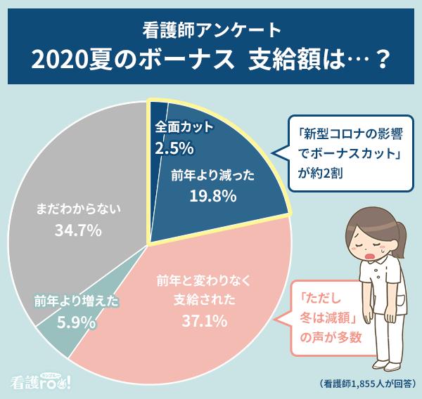 看護師アンケート「2020年夏のボーナス支給状況」の結果グラフ。全面カット2.5%、前年より減った19.8%、前年と変わりなく支給された37.1%、前年より増えた5.9%、まだわからない34.7%