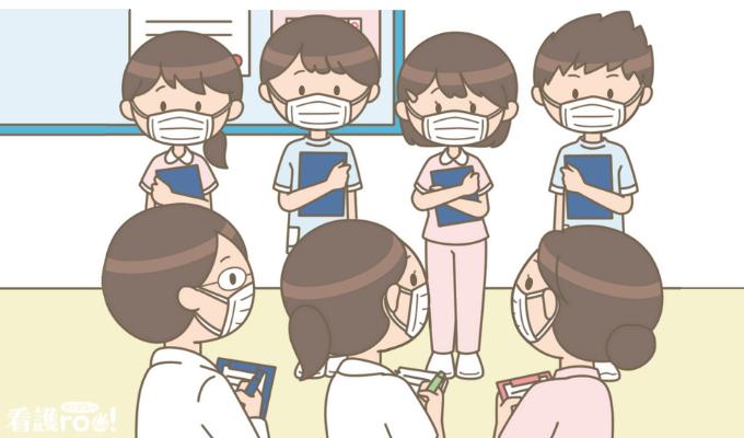 病院実習に来ている看護学生のイラスト