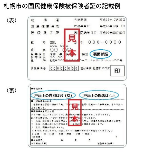 札幌市の国民健康保険証の記載例の写真
