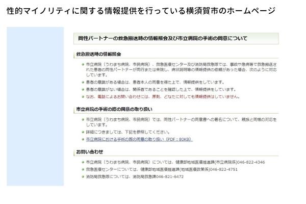 横須賀市のホームページの画像