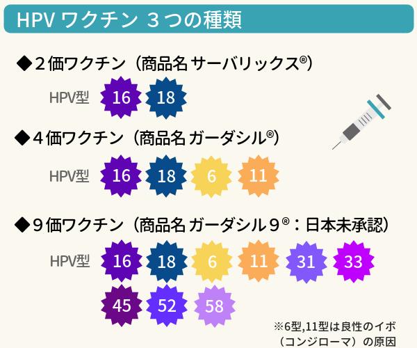 HPVワクチンの種類の説明図。2価ワクチン(商品名サーバリックス)のターゲットは16型18型。4価ワクチン(商品名ガーダシル)のターゲットは16型18型6型11型。9価ワクチン(商品名ガーダシル9)のターゲットは16型18型6型11型31型33型45型52型58型
