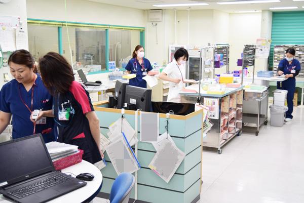 茨城県立中央病院のナースステーションの写真